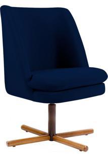 Poltrona Decorativa Sala De Estar Giratória Xis Megara Veludo Azul Marinho - Gran Belo