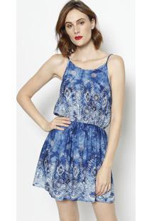 520e51c60 ... Vestido Floral Com Elástico- Azul Marinho & Branco- Bhl