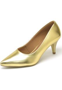 Scarpin Metalizado Casual Salto Baixo Ellas Online Dourado