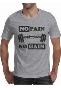 Camiseta Casual Sport No Pain No Gain Cinza