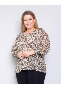 Camisa Plus Size Palank Luxuosa Feminina - Feminino-Verde