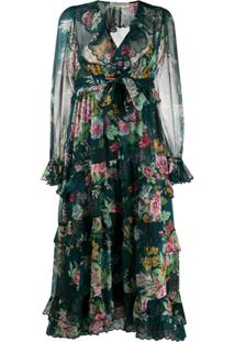 Zimmermann Vestido Midi Daphne De Seda - Verde