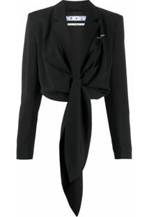 Off-White Blazer Cropped Com Amarração - Preto