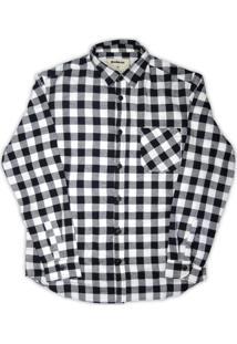 Camisa Linoleum Xadrez De Flanela Slovak Preta/Branca