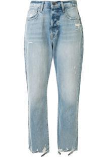 Frame Calça Jeans Cropped Com Efeito Destroyed - Azul