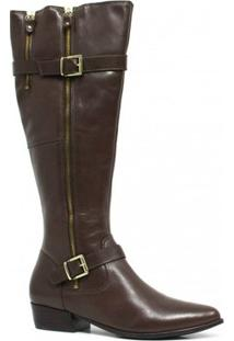Bota Zariff Shoes Montaria Em Couro Fivela Feminina - Feminino-Marrom