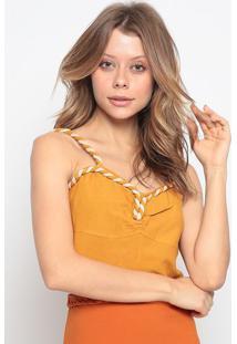 Blusa Cropped Com Linho - Amarela & Bege Claro - Chochocoleite