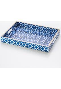 Bandeja Blue De Madeira 40X30 Cm - Unissex