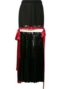 Atu Body Couture Pleated Sequin Maxi Skirt - Preto