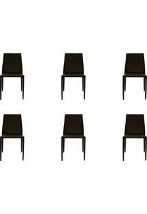 Kit 06 Cadeiras Amanda Pvc Marrom Rivatti