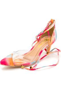 Sapato Scarpin Salto Alto Em Tiedye Com Transparência - Kanui