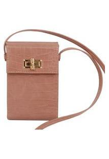 Bolsa Santa Lolla Phone Bag Croco Envernizado Nude