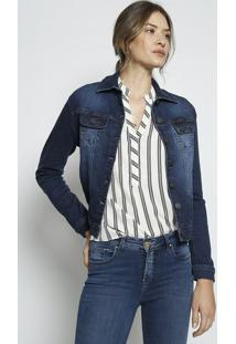 Jaqueta Jeans Com Recortes- Azul Escurolee