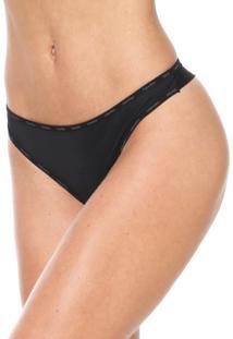Calcinha Calvin Klein Underwear Fio Dental Logo Preta