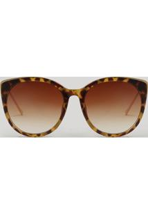 Óculos De Sol Feminino Redondo Oneself Tartaruga - Único