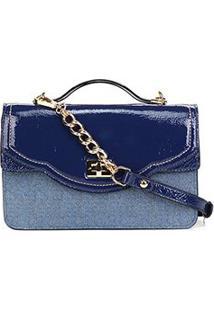 Bolsa Couro Jorge Bischoff Transversal Tampa Recorte Jeans Feminina - Feminino-Azul