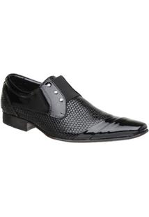 Sapato Malbork Masculino Em Couro Verniz Com Elástico 378 - Masculino-Preto