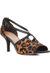 Sandália Shoestock Pelo Onça Salto Médio Tiras Cruzadas - Feminino