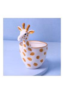 Vaso Girafa Em Dolomita Cor: Amarelo E Branco - Tamanho: Único