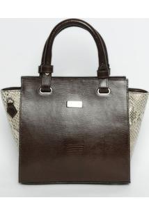 Bolsa Em Couro Texturizada - Marrom Escuro & Bege - Griffazzi