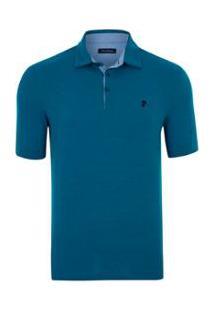 Camisa Polo Pierre Cardin Jacquard Masculina - Masculino-Azul
