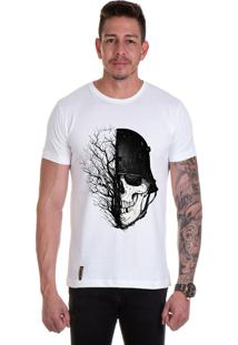 Camiseta Lucas Lunny T Shirt Gola Redonda Caveira Galhos Secos Branca
