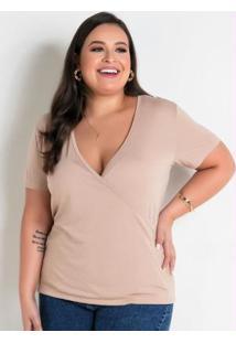 Blusa Bege Transpassada Plus Size
