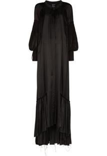 Ann Demeulemeester Vestido Longo Com Mangas Amplas - Preto
