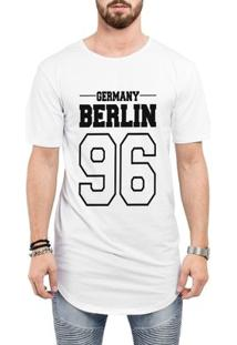 Camiseta Criativa Urbana Long Line Oversized Germany Berlin 96 - Masculino-Branco