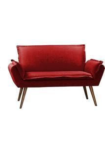Poltrona Decorativa Brandson Vermelha Em Veludo 2 Lugares Morfeu