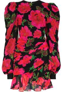 Richard Quinn Rose Print Mini Dress - Preto