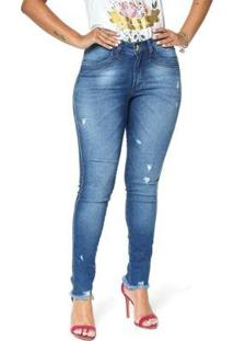 Calça Jeans Cigarrete Denuncia Mid Rise Skinny 206324152 Azul 42 - Feminino