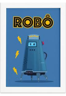 Quadro Infantil Robô Azul Moldura Branca 22X32Cm - Tricae