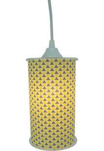 Luminária Pendente Cilíndrica Crie Casa Amarelo E Cinza