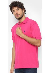 Camisa Polo U.S. Polo Assn Básica Lisa Masculina - Masculino-Pink