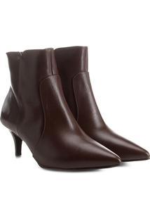Bota Couro Cano Curto Shoestock Kitten Heel Feminina - Feminino-Café