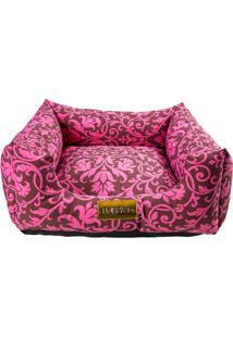 Cama Quadrada Arabesco- Rosa & Marrom Escuro- 20X70X4 Patas