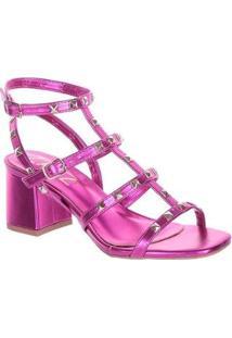 Sandália Fiorella Metalizada Pink Feminina - Feminino-Rosa