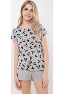 Pijama Short Doll Mescla Com Estampa Mickey