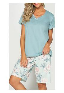 Pijama Curto Floral Pzama (50022) 100% Algodão