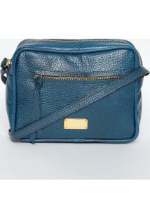 Bolsa Transversal Texturizada Em Couro- Azul & Dourada