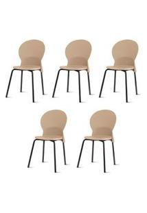 Kit 5 Cadeiras Luna Assento Bege Base Preta - 57695 Bege