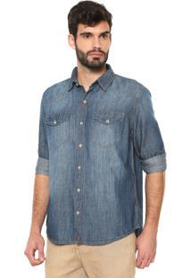 Camisa Jeans Hering Reta Lisa Azul