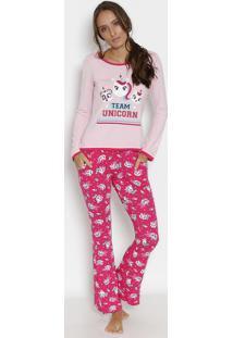 """Pijama """"Team Unicorn"""" Com Recortes- Rosa Claro & Rosa Espuket"""