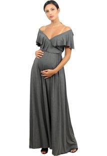 Vestido Gestante Amamentação Cinza Tribo Donna