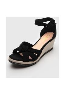 Sandália Dafiti Shoes Anabela Preta/Bege