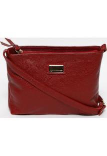 Bolsa Transversal Em Couro Texturizado- Vermelha & Douraanette