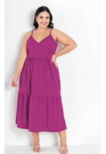 Vestido Pink Com Transpasse Plus Size