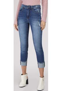 Calça Jeans Feminina Skinny Cropped Cintura Alta Com Barra Dobrada Azul Escuro