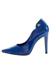 Scarpin Salto Alto Week Shoes Verniz Azul Escuro